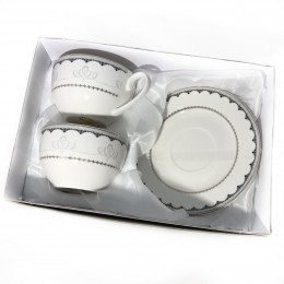 Dwie porcelanowe filiżanki do kawy na prezent ORNAMENT