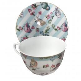 Porcelanowa filiżanka ze spodkiem do kawy i herbaty PTAKI