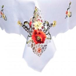 Biała serweta haftowana CZERWONE MAKI  110x160 cm/ obrus z haftem