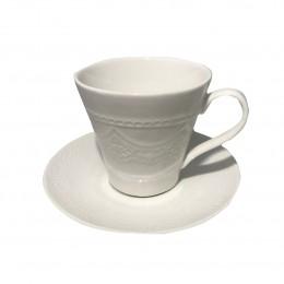 Porcelanowa filiżanka ze spodkiem do kawy i herbaty biała KORONKA