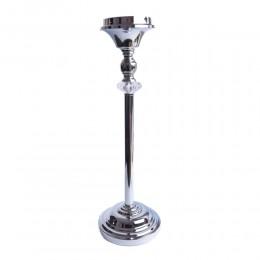 Wysoki klasyczny świecznik srebrny z kryształem postument wys.