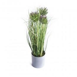 Dekoracyjna sztuczna roślina w doniczce OSET ostropest wys. 45 cm