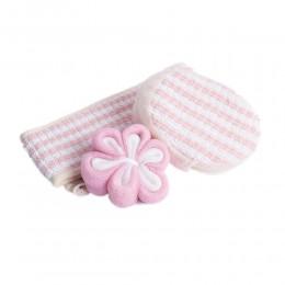Biało różowy zestaw SPA akcesoria do kąpieli i masażu GĄBKA MYJKA