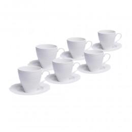 Biały serwis kawowy porcelana zestaw herbaciany na 6 osób KORONKA