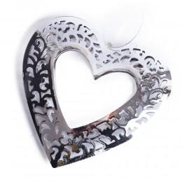 Srebrne ażurowe serce metalowe ozdoby wiszące na choinkę Walentynki