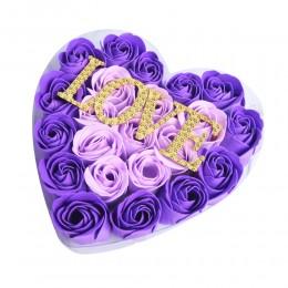Prezent na Walentynki róże mydlane w pudełku z napisem LOVE