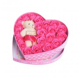 Prezent na Walentynki flowerbox ciemno różowe róże w pudelku z misiem LOVE