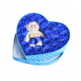 Prezent na Walentynki flower box niebieskie róże i miś w pudełku