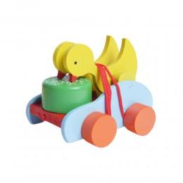 Ciągacz kaczka drewniana zabawka do ciągnięcia na sznurku dla dzieci