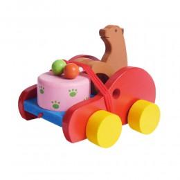 Ciągacz Miś z bębenkiem drewniana zabawka do ciągnięcia dla dzieci