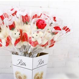 Prezent na Walentynki Dzień Mamy MIŚ sztuczna czerwona RÓŻA MYDLANA