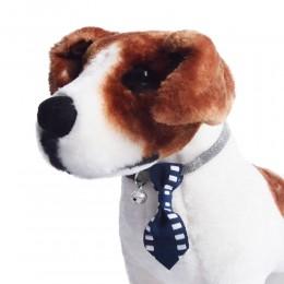 Obroża dla psa kota z krawatem i dzwoneczkiem granatowa obwód szyi 18-28 cm