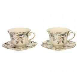 Ekskluzywny złocony serwis do kawy herbaty dla dwojga ECRU Z SZARYM