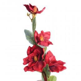 Ukwiecona gałąź magnolii z pąkami h / czerwona magnolia kwiat sztuczny