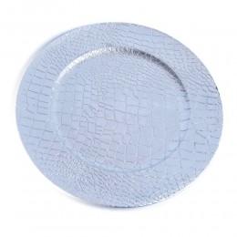 Patera duży talerz dekoracyjny plastikowy srebrny śr. 33 cm SKÓRA WĘŻA