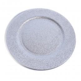 Srebrna patera duży talerz dekoracyjny plastikowy srebrny śr. 33 cm