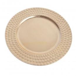 Złota patera duży talerz dekoracyjny plastikowy złoty podtalerz 33 cm
