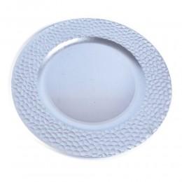 Plastikowy podtalerz podkładka taca pod TALERZ / patera srebrna 33 cm