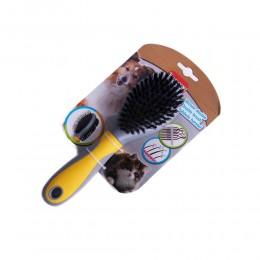 Żółta dwustronna szczotka do wyczesywania psa kota włosie bezpieczne piny