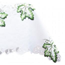 Obrus biały 85x85 kwadrat haft zielony liść / serweta haftowana