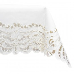 Serweta haftowana 85x85 kwadrat ecru / obrus na stół z haftem