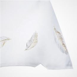 Biała serweta haftowana 85x85 kwadrat  LIŚĆ ZŁOTY / obrus na stół