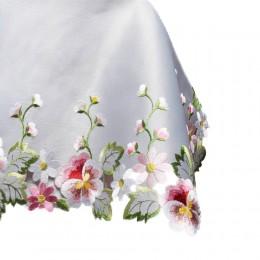 Szara serweta haftowana 85x85 kwadrat haft kolorowe kwiaty wiosny