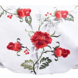 Obrus serweta haftowana okrągła 85 cm CZERWONE RÓŻE róża