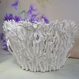 Duża biała osłonka na doniczkę z gałązek / dekoracje wiosenne