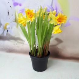 Sztuczna roślina sztuczne żonkile w doniczce wys. 20 cm / żółty narcyz