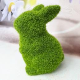 Wielkanocne dekoracje stojący zając flokowany zielony 12,5 cm