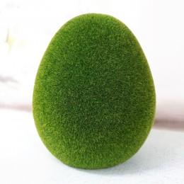 Dekoracje wielkanocne na stół duże jajko flokowane 18cm zielone meszek
