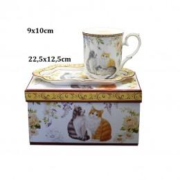 Kubek z podstawką na prezent / kubek w koty / kubek z kotami