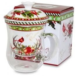 Szklany kubek z zaparzaczem i pokrywką motyw Boże Narodzenie