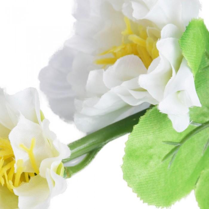 Sztuczny kwiat biała malwa pełna ogrodowa gałązka 120 cm