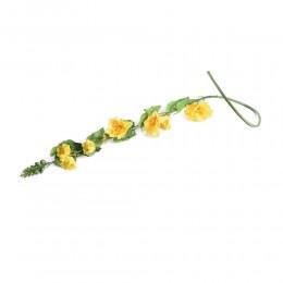 Sztuczny kwiat żółta malwa pełna ogrodowa alcea gałązka 120 cm