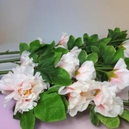 Sztuczny kwiat biało-różowa malwa pełna ogrodowa alcea gałązka 120 cm