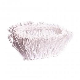 Biała owalna doniczka osłonka z gałązek 50x25 cm / dekoracja zimowa