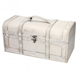 Duży drewniany kufer biały postarzany