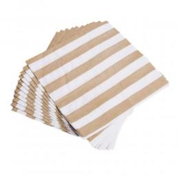 Elegancki serwetki papierowe w biało złote paski 12 szt.