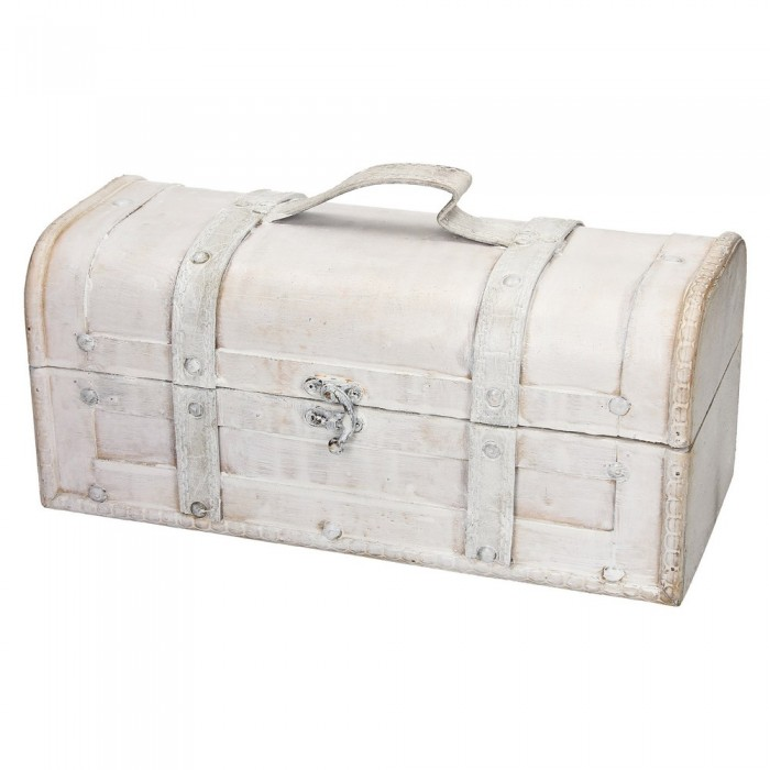 Średni drewniany kufer biały postarzany