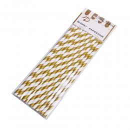 Papierowe rurki słomki w biało złote paski 12 szt.
