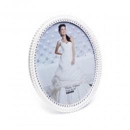 Duża owalna ramka na zdjęcie ślubne biała perełki cyrkonie