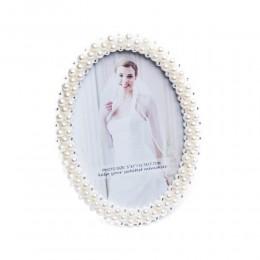 Owalna ramka na zdjęcie ślubne biała perełki cyrkonie 12x17 cm