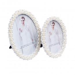 Owalna ramka na zdjęcie ślubne biała perełki cyrkonie 10x15 cm