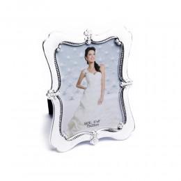 Biała prostokątna ramka na zdjęcie ślubne z perełkami 15x20 cm