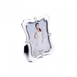 Biała prostokątna ramka na zdjęcie ślubne z perełkami 13x18 cm