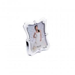 Biała prostokątna ramka na zdjęcie ślubne z perełkami 10x15 cm