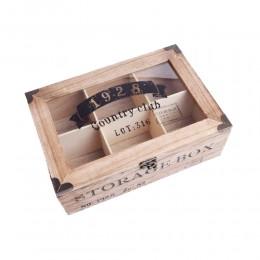 Drewniane pudełko na drobiazgi herbatę prezent STORAGE BOX