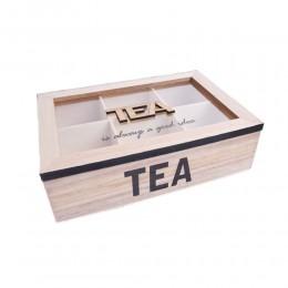 Drewniane pudełko na herbatę z 6 przegródkami TEA czarne